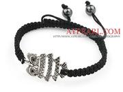 Owl Shape and Hematite Beads Adjustable Drawstring Bracelet