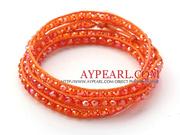 Fashion Dark Orange Color Jade Crystal Wrap Bangle Bracelet