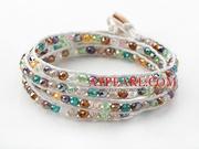 Multi Color Jade Crystal Woven Wrap Bangle Bracelet