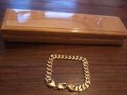 9CT GOLD MENS  SOLID CURB BRACELET